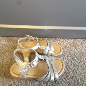Place toddler girl's silver sandals size 7